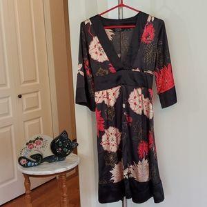 Black Red Satin Dress Sz 9 S/M